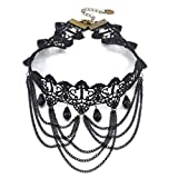 EROSPA® Gothic-Collier Halsband aus edler schwarzer Häkelspitze Steampunk Retro Burlesque 8 verschiedene Modelle (F129 E)
