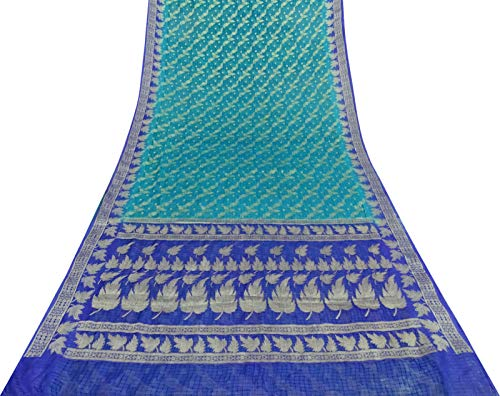 Teal Saree (Vintage Teal Grün Saree Gewebe Organza Seide gewebt Gebrauchte Craft Stoff Sari 5 Yd)