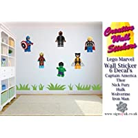 Lego Wall Sticker Marvel Avengers Kids Bedroom 6 Separate Stickers Decals.