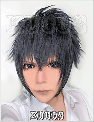 LanTing Cosplay Perücke Final Fantasy XV,FF15 Noctis Lucis Caelum Black Blue Mix Perücke Corta Cosplay Party Fashion Anime Human Costume Full wigs Synthetic Haar Heat Resistant Fiber