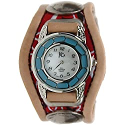 Kc,s Leather Craft Watch Bracelet Three Concho Turquoise Movement Inlay Color Pink
