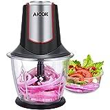 Aicok Picadora de Cristal Eléctrica para Verdura Cebolla Fruta y Carne Minipicadora 1.2L, 4 Cuchillas de Acero Inoxidable, 300W, Rojo