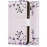 tinxi® Kunstleder Tasche für Samsung Galaxy S6 Tasche Schutz Hülle Schale Etui Case Cover Standfunktion mit Karten Slot Blume