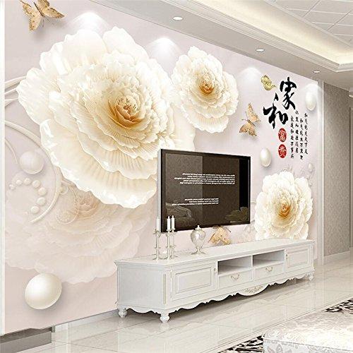 Duo-stereo (LHDLily 3D Tapete 3D Wallpaper Fresken Wandbilder Verdicken Benutzerdefinierte Stereo Schmuck Pfingstrose Duo Haus Und Die Wohlhabenden Tv-Kulisse 150Cmx100Cm)