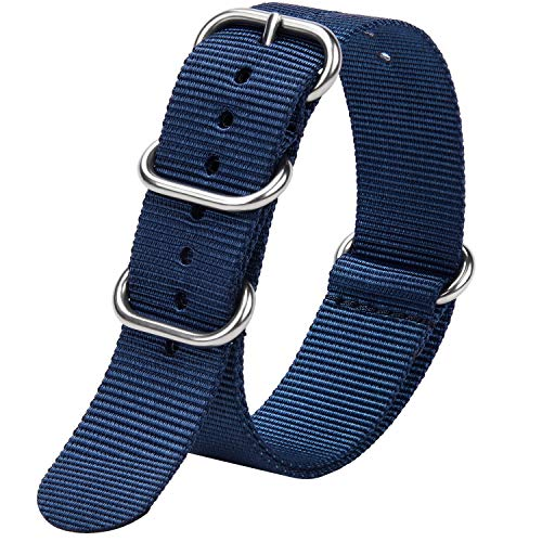 Fullmosa Zulu 18mm 20mm 22mm 24mm Bracelet Montre Homme Femme, 10 Couleurs Montre Bracelet Nylon à Rayure Fermoir Métal Réglable, Bleu 20mm