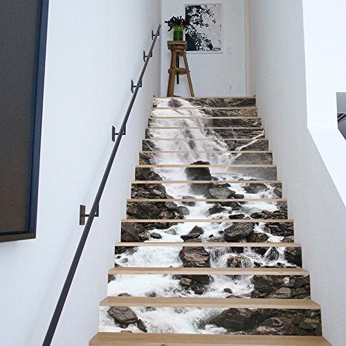 13 stücke Treppen Aufkleber, 3D DIY selbstklebende Aufkleber Wand Home Decor Abnehmbare Aufkleber für Treppenhaus (B)