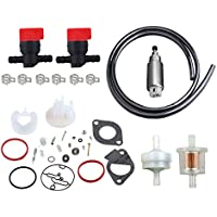 OxoxO Carburetor Overhaul Kit with 394358 Fuel Filter Fuel Shut Off Valve Fuel Line for Briggs & Stratton Lawn Mower Replace 796184