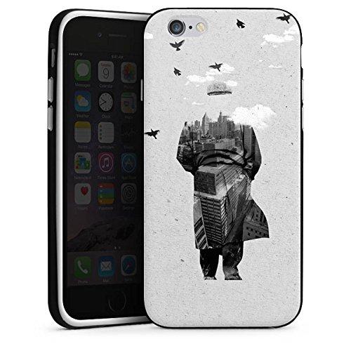Apple iPhone 5s Housse Étui Protection Coque Silhouette Homme Nuages Housse en silicone noir / blanc