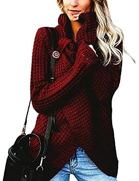 Minetom Mujer Moda Suéter Largo Casual Jersey Prendas de Punto Mangas Largas Oversize Camiseta Jumper Tops Otoño...