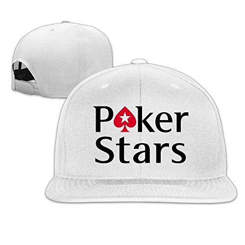Hittings Pokerstars Logo Adjustable Snapback Baseball Hats Flat Cap Black White