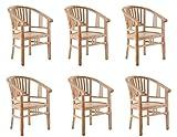 SAM 6er Set Teak-Holz Massiv Gartensessel Moreno, Stuhl mit Armlehnen, für Balkon, Terrasse