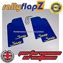 rallyflapZ Guardabarros para Citroen Saxo (1996-2003) Cantidad 4 Azul Guardafangos Logo Amarillo (4mm PVC)