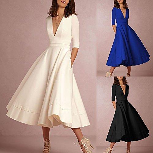 Boutiquefeel Damen Elegant Halbrmel tief V Kragen Hohe Taille Vintage Swing Kleid Weiß