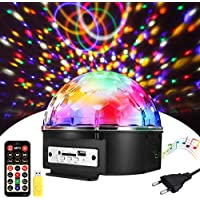 Luces de discoteca, SOLMORE Luces LED de Escenario, bola de discoteca, efectos de luz, reproductor de música, efecto LED de 9 colores, con lector de tarjetas y puerto USB.