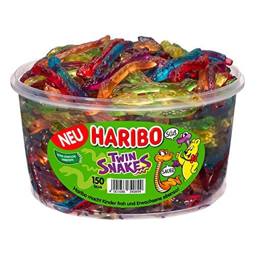 Haribo - Twin Snakes - Süß-Saure-Schlangen - Weingummi - Fruchtgummi - Box mit 150 Stück