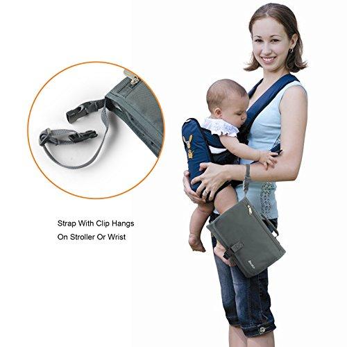 Becko grau-grün Baby-und Kinder-Windeltasche/ Windelhandtasche+Wickelmatte/Wickelunterlagen + Flaschenschutztasche