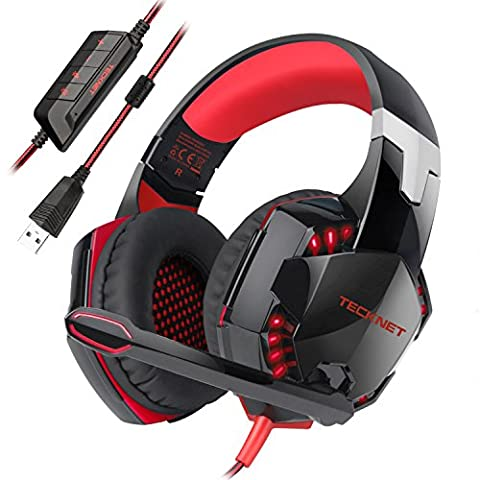 Gaming Headset,TeckNet 7.1 Channel Surround Sound Gaming Headset Headband Over-Ear Headphone With Noise Cancelling Microphone and LED Lighting For PC Computer Gaming, USB