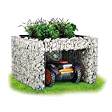 bellissa Gabionen Mähroboter-Garage - 97296 - Bepflanzbare Rasenmäher-Garage mit Pflanzschale - 75 x 75 x 53 cm