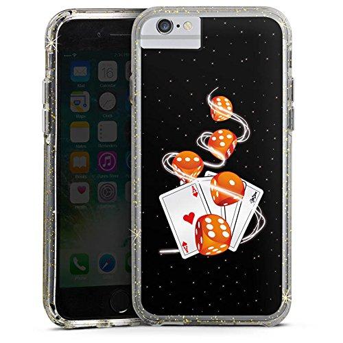 Apple iPhone 8 Bumper Hülle Bumper Case Glitzer Hülle Cube Heart Herz Bumper Case Glitzer gold