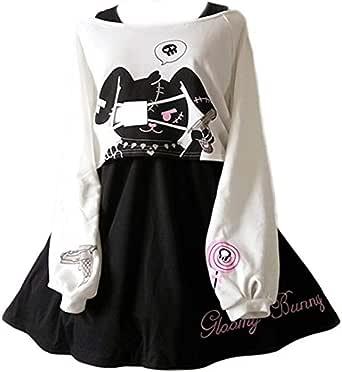 Cute Dress for Teens Girl Two Piece Set Bunny Stampa Abiti Casual in Cotone per l'autunno Primaverile