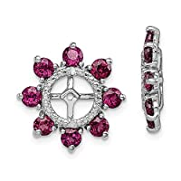 925 Sterling Silver Rhodium plated Diamond and Rhodolite Garnet Earrings Jacket Jewelry Gifts for Women