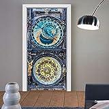 etiqueta de la puerta 3dImpresión en 3D cartel antiguo reloj de PVC a prueba de agua en general pegatinas de la puerta murales DIY decoración del hogar autoadhesivo hecho a mano