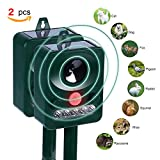 Pack of 2 Konsait Cat Repellent Outdoor Waterproof Ultrasonic Animal Repeller Solar Powered Pet Repellent Fox Bird Cat Dog Repellent Deterrent Scarer with Ground Stake for Gardens Yard Farm Lawn