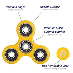 Oriental eLife® Fidget Spinner, Tri-Spinner EDC Focus Toy Hand spinner - Stress Relievers for ADD, ADHD Relieves Stress, Autism And Anxiety And Relax for Children and Adults (Yellow)