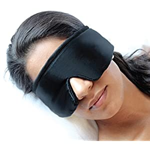 FEDANO Schlafmaske DreamKeeper – Hochwertig in elegantem Schwarz mit ökotex-zertifizierter Bio-Baumwolle – Durch innovatives Design geeignet für Männer und Frauen (Schwarz)