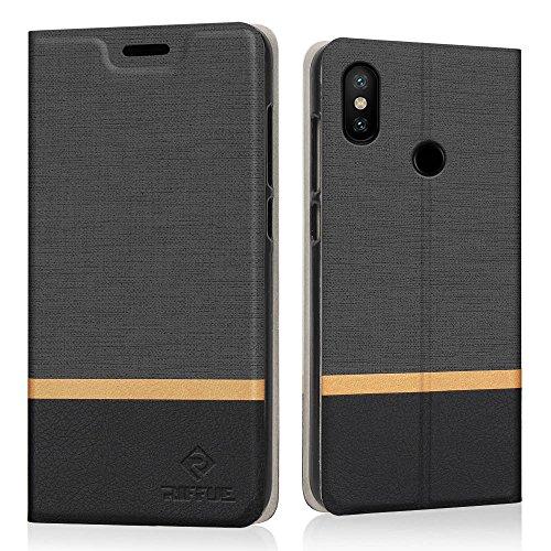 RIFFUE Xiaomi Mi A2 Lite/Redmi 6 Pro Hülle, Dünne Case Schutzhülle Retro Denim Muster Handyhülle Abdeckung Compact Cover für Xiaomi Mi A2 Lite/Xiaomi Redmi 6 Pro (5,84 Zoll) - Schwarz