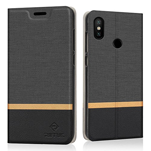 RIFFUE Xiaomi Mi A2 Lite Hülle, Dünne Case Schutzhülle Retro Denim Muster Handyhülle Abdeckung Compact Cover für Xiaomi Mi A2 Lite/Xiaomi Redmi 6 Pro (5,84 Zoll) - Schwarz