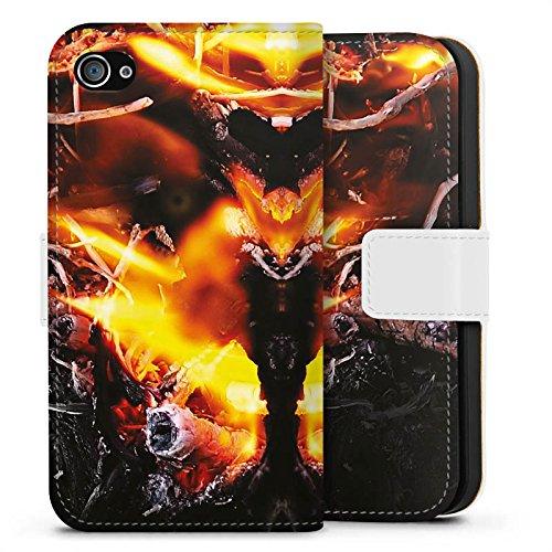 Apple iPhone X Silikon Hülle Case Schutzhülle Feuer Dämon Armageddon Sideflip Tasche weiß