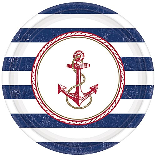 8 Teller * SEEMANN * für Kindergeburtstag oder Mottoparty // Plates Pappteller Partyteller Anker Segeln Matrose Seefahrer Sailor