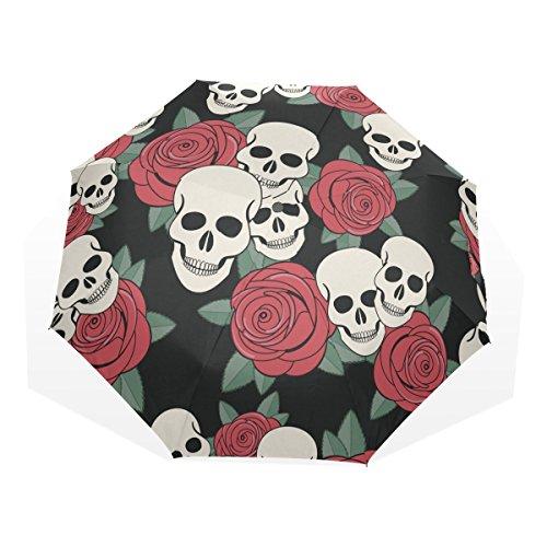 GUKENQ - Paraguas de Viaje con diseño de Calavera roja y Rosa, Ligero, antirayos UV, para Hombres, Mujeres y niños, Resistente al Viento, Plegable, Paraguas Compacto