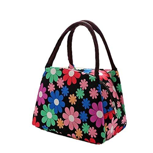 Rieovo 2017pranzo borse per donne floreale a strisce contenitore termico per pranzo picnic, Kids uomo Cooler Tote Green Flower