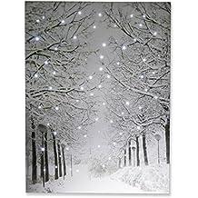 Clever Creations - Cuadro para la pared con luces LED - Ideal para el hogar, un despacho o una clase - Paisaje de invierno con nieve - 40 x 29,85 cm