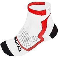 Briko Real Mesh Extreme - Calcetines de Ciclismo Unisex, Color Blanco/Negro/Rojo