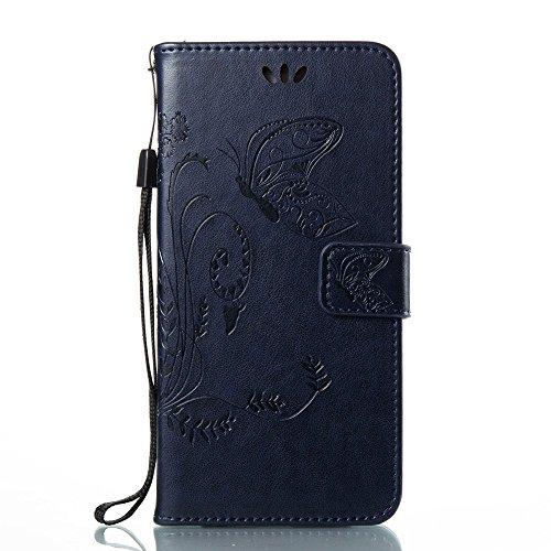 EKINHUI Case Cover Horizontale Folio Flip Stand Muster PU Leder Geldbörse Tasche Tasche mit geprägten Blumen & Lanyard & Card Slots für Huawei P10 Plus ( Color : Blue ) Royal Blue