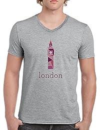 Big Ben London V-Cuello Camiseta Para Hombre Gris Todos Los Tamaños | Men's V-Neck T-Shirt Grey