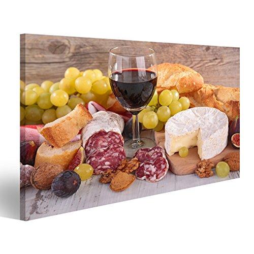 lder auf Leinwand Wein, Käse, Wurst und Brot Wandbild, Poster, Leinwandbild ETK ()