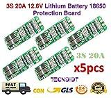 TECNOIOT 5pcs 3S 20A 12.6V Li-Ion Lithium 18650 BMS PCM Battery Protection Board   5pcs Cargador de batería de Litio útil 20A Que Carga el módulo del Tablero de la protección 12.6V para Lipo
