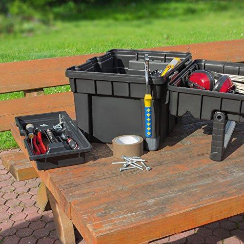 HD Compact 1 Werkzeugkoffer Box Toolbox Werkzeugkiste 450x350x350 Alugriff schwarz - 7
