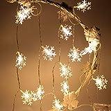 HOTSO LED Fiocco di Neve Luci Stringa Natale Catena Luminosa Bianco Caldo Impermeabile All'aperto Coperta Matrimonio Giardino, 2.5M, 20 LEDs, Bianco Caldo