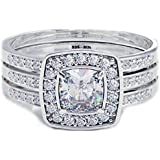 Cushion Cut CZ Halo Design 3 piece Genuine 925 Sterling Silver Luxury Unique Affordable Wedding Engagement Bridal Ring Set Band-Comes with Luxury Gift Box.