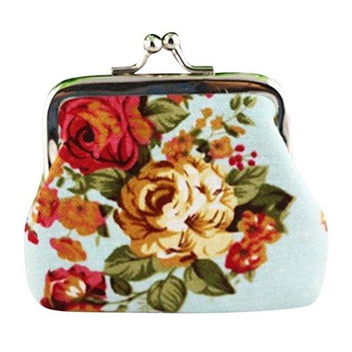 Internet Femmes Vintage Fleur petit porte-monnaie Hasp sac à main pochette 9cmX7cm (Bleu clair)