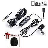BOYA BY-M1 - Micrófono de solapa de lavalier profesional con sistema de fácil enganche para cámaras réflex digitales Canon, Nikon, Sony, iPhone, Android, Samsung, para grabación de podcast