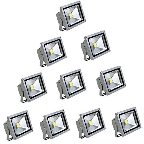 MCTECH® 10 x 10W LED Fluter Kaltweiß Strahler Licht Scheinwerfer Außenstrahler Wandstrahler Aluminium IP65 Wasserdicht Silber