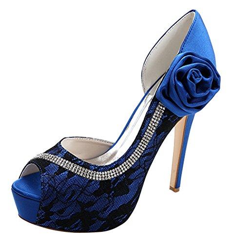 ZHENGXF Escarpin femme Chaussure de marišŠe mariage Mode Sexy Bleu