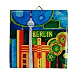 Dekorative Wand - Fliese: verschiedene Berliner Motive, bunt (Fernsehturm Tag)