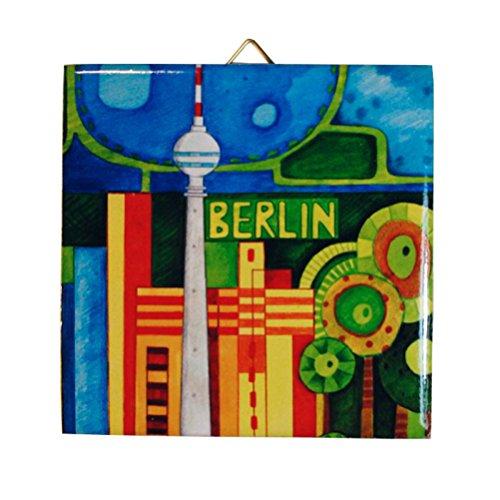 Dekorative Wand - Fliese: verschiedene Berliner Motive, bunt (Fernsehturm Tag) - Dekorative Wand-fliesen
